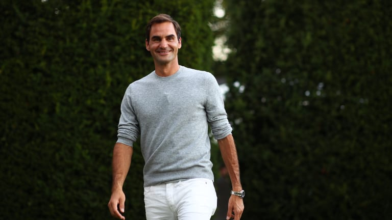Federer takes a stroll in Geneva, September 2019.