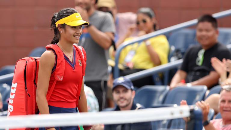 Raducanu arrives for her US Open main-draw debut.