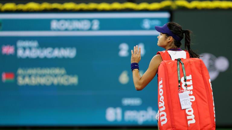 Raducanu went down, 6-2, 6-4, to Aliaksandra Sasnovich Friday evening.