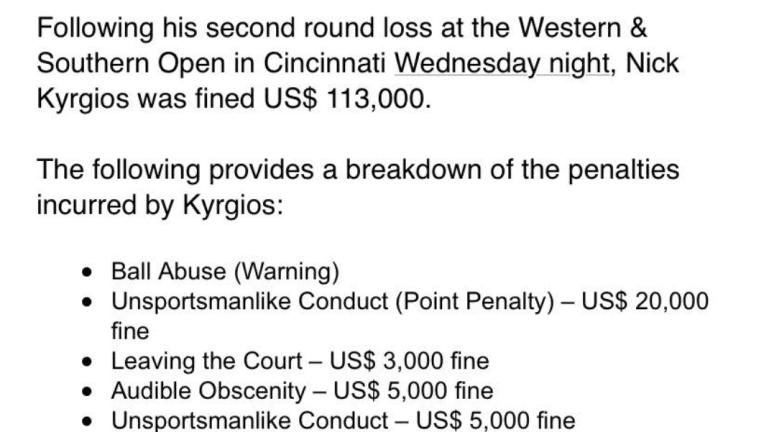 Nick Kyrgios hit with record-setting fine for Cincinnati meltdown